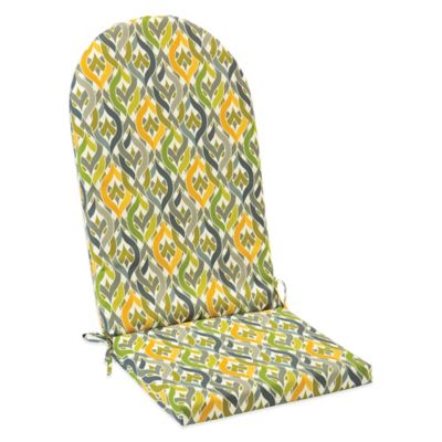 Outdoor Adirondack Cushion with Ties in Geo Yellow