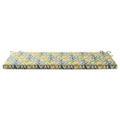 Outdoor Bench Cushion with Ties in Geo Yellow