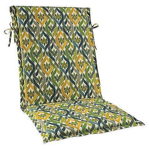 Solid Outdoor Sling Cushion With Ties In Geo Yellow Bed