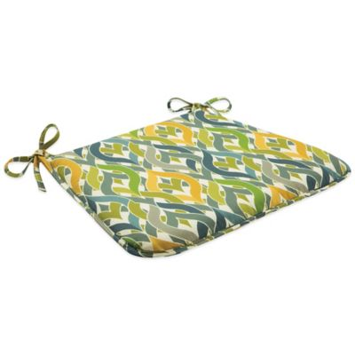 Outdoor Bistro Chair Cushion with Ties Geo Yellow