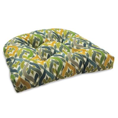Outdoor Tufted Cushion in Geo Yellow