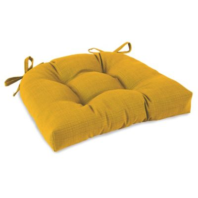 Outdoor Tufted Cushion with Ties in Yellow