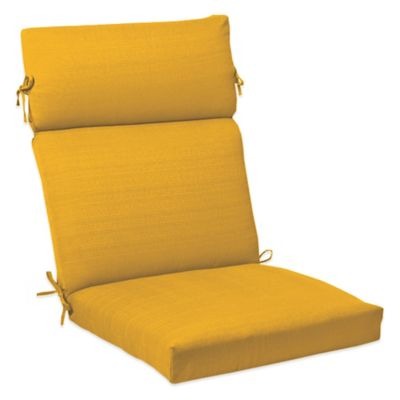Outdoor High Back Cushion with Ties in Yellow
