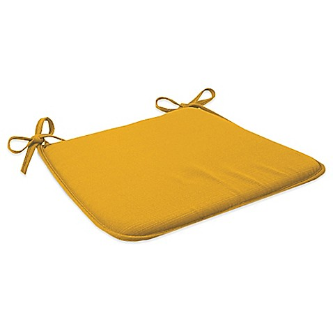 Outdoor Bistro Chair Cushion With Ties In Yellow Bed
