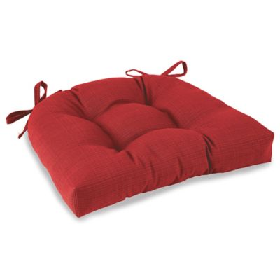 Solid Outdoor Tufted Cushion with Ties in Red