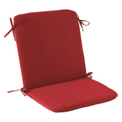 Solid Outdoor Mid Back Cushion with Ties in Red