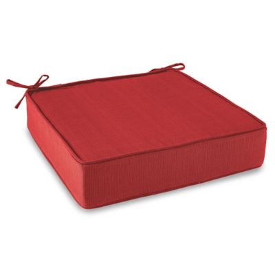 Solid Outdoor Deep Seating Cushion with Ties in Red
