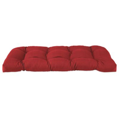 Solid Outdoor Settee Cushion in Red