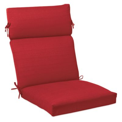 Solid Outdoor High Back Cushion with Ties in Red