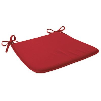 Solid Outdoor Bistro Chair Cushion with Ties in Red