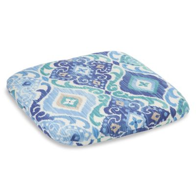 Outdoor Chair Cushion in Ikat Blue