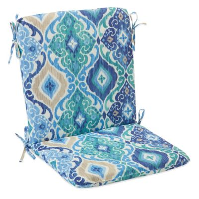 Outdoor Mid Back Cushion with Ties in Ikat Blue