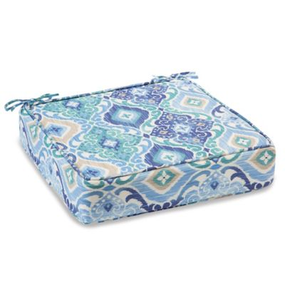 Outdoor Deep Seating Cushion with Ties in Ikat Blue