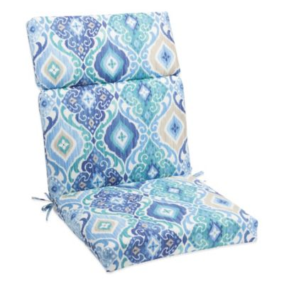 Outdoor High Back Cushion with Ties in Ikat Blue