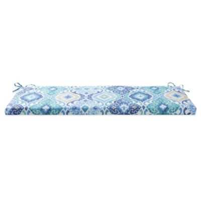 Outdoor Bench Cushion with Ties in Ikat Blue
