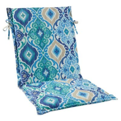 Outdoor Sling Cushion with Ties in Ikat Blue