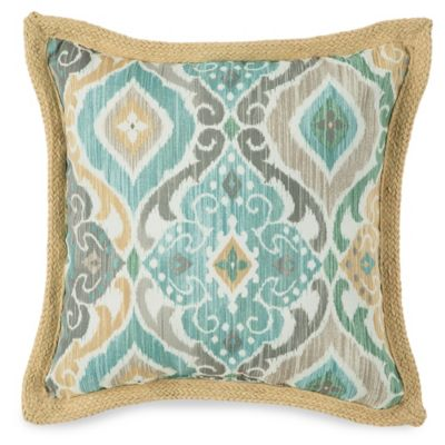 Jute Trimmed Outdoor Throw Pillow in Ikat Mist