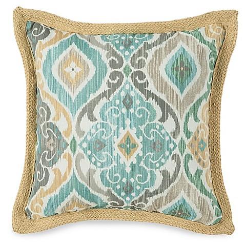 Jute Throw Pillow : Jute Trimmed Outdoor Throw Pillow in Ikat Mist - Bed Bath & Beyond
