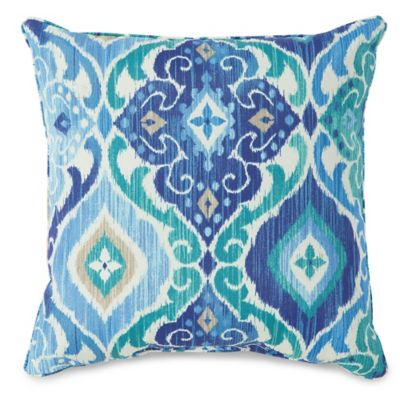 17-Inch Outdoor Throw Pillow in Ikat Blue - Bed Bath & Beyond