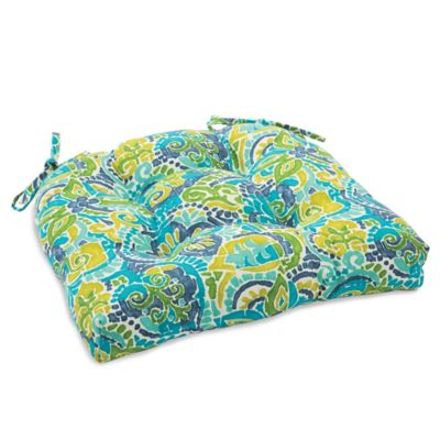 Outdoor Tufted Cushion with Ties in Mosaic Blue