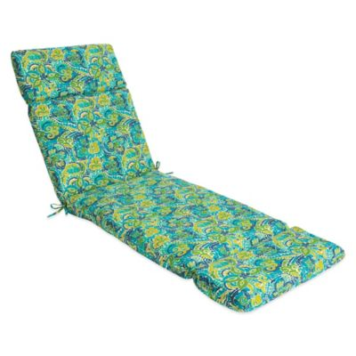 Outdoor Chaise Cushion in Mosaic Blue