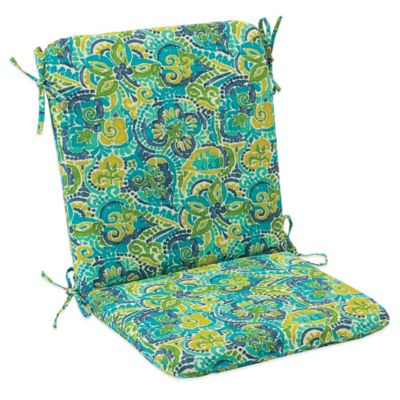Outdoor Mid Back Cushion with Ties in Mosaic Blue