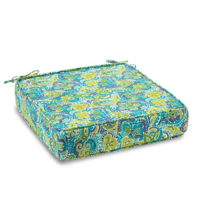 Solid Outdoor Deep Seating Cushion with Ties in Mosaic Blue