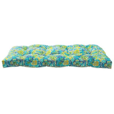 Outdoor Settee Cushion in Mosaic Blue