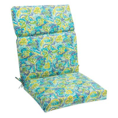Outdoor High Back Cushion with Ties in Mosaic Blue