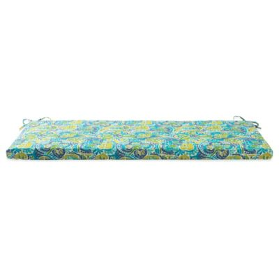 Outdoor Bench Cushion with Ties in Mosaic Blue