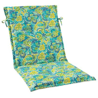 Outdoor Sling Cushion with Ties in Mosaic Blue