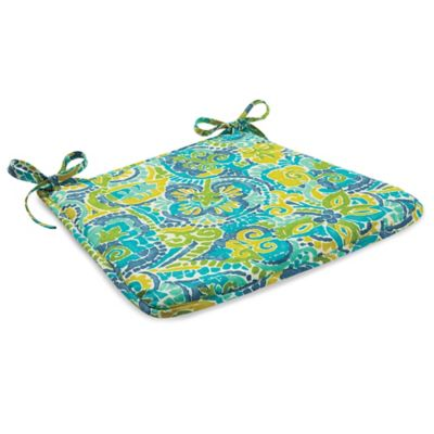 Outdoor Bistro Chair Cushion with Ties in Mosaic Blue