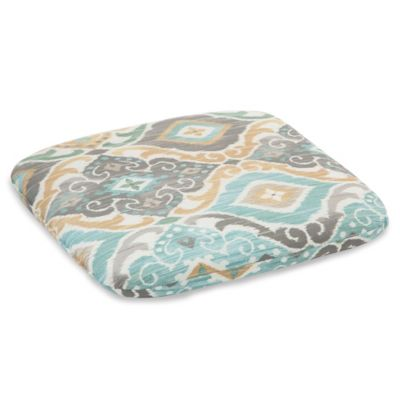 Outdoor Chair Cushion in Ikat Mist