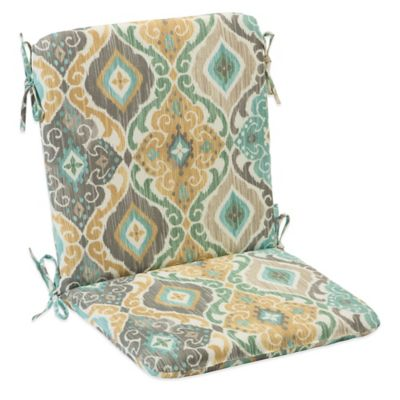 Outdoor Mid Back Cushion with Ties in Ikat Mist