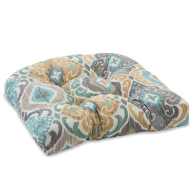 Outdoor Tufted Cushion in Ikat Mist