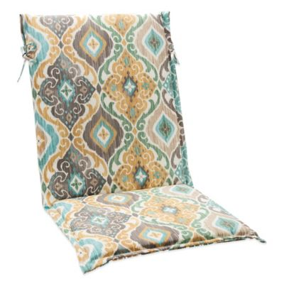 Outdoor Sling Cushion with Ties in Ikat Mist