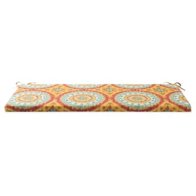 Outdoor Bench Cushion with Ties in Sunset Red