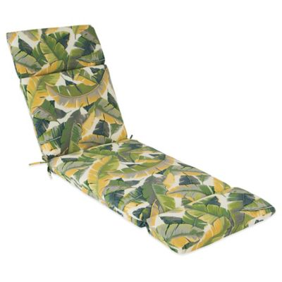 Outdoor Chaise Cushion in Large Leaves