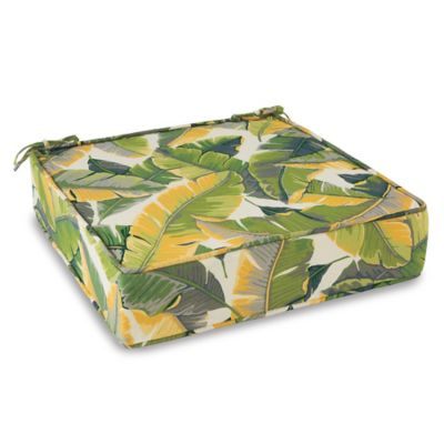 Outdoor Deep Seating Cushion with Ties in Large Leaves