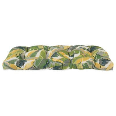 Outdoor Settee Cushion in Large Leaves
