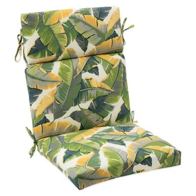 Outdoor High Back Cushion with Ties in Large Leaves