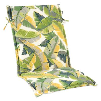 Outdoor Sling Cushion with Ties in Large Leaves
