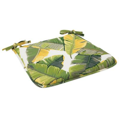 Outdoor Bistro Chair Cushion with Ties in Large Leaves