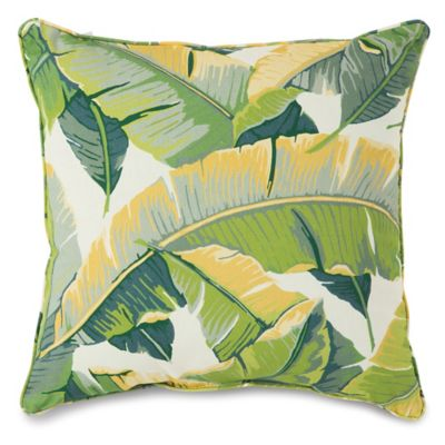 Large Leaves 17-Inch Square Outdoor Throw Pillow