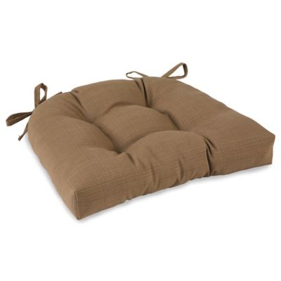 Outdoor Tufted Cushion with Ties in Camel