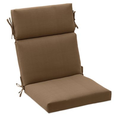 Outdoor High Back Cushion with Ties in Camel