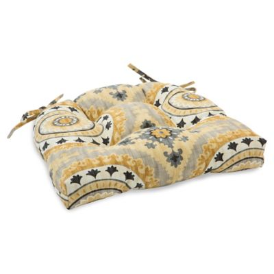 Outdoor Tufted Cushion with Ties in Sunset Yellow