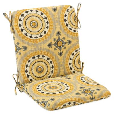 Outdoor Mid Back Cushion with Ties in Sunset Yellow