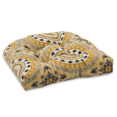 Outdoor Tufted Cushion in Sunset Yellow