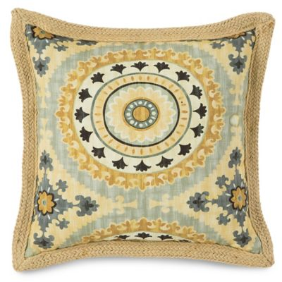 Jute Trimmed Outdoor Throw Pillow in Sunset Yellow